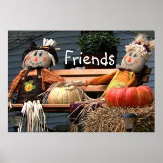 Pumpkins Autumn Picture Friends Poster