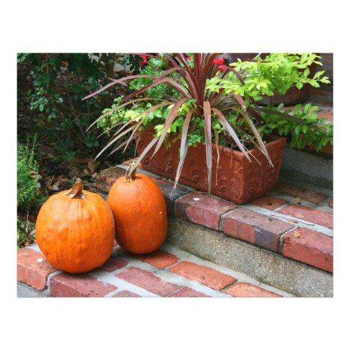 pumpkins brick steps planter fall halloween autumn flyer design