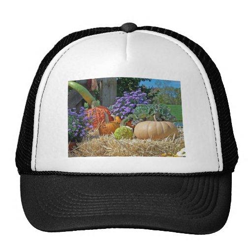 Pumpkins Fall Autumn Purple Flowers Peace Love Art Mesh Hat