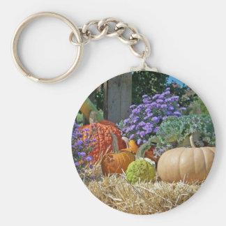 Pumpkins Fall Autumn Purple Flowers Peace Love Art Key Chains
