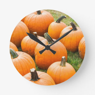 Pumpkins for Sale at a Farmer's Market Round Clock