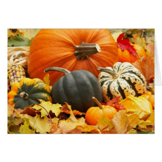 Pumpkins in Fall Leaves card
