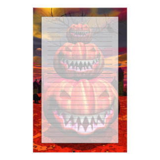 Pumpkins In Halloween Scene Stationery