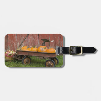 Pumpkins in old wagon luggage tag