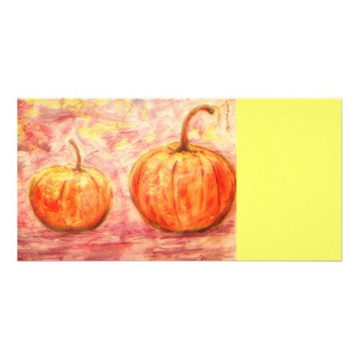 pumpkins in the fall sunshine personalized photo card