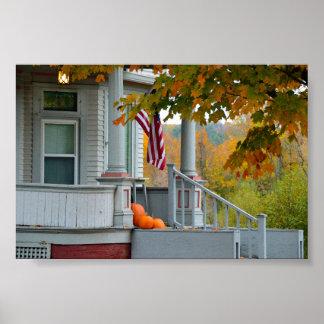Pumpkins on a Vermont Porch in Autumn. Poster