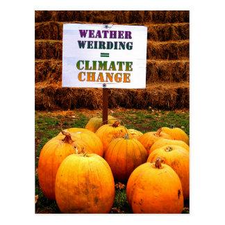 Pumpkins Protest Weather Weirding Postcard
