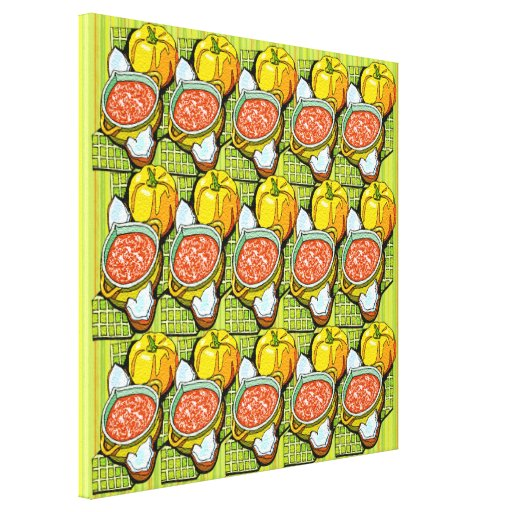 Pumpkins, Soup and Striped Background Canvas Prints