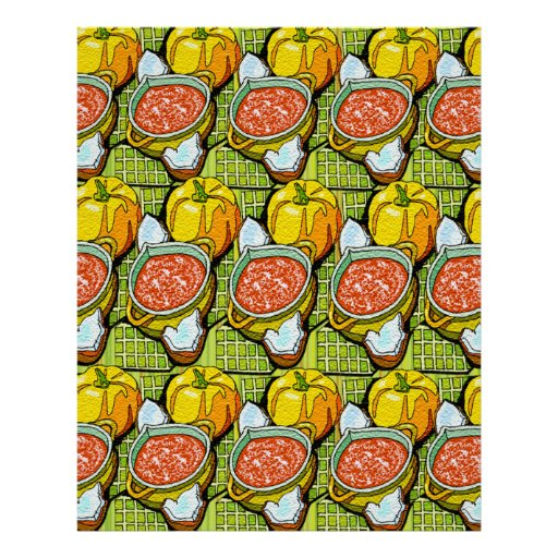 Pumpkins, Soup and Striped Background Poster