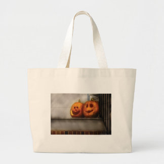 Pumpkins - Two Goofy friends Large Tote Bag