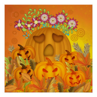 Pumpkins  with Flowers in Leaves Poster