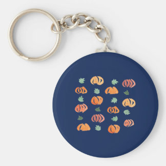 Pumpkins with Leaves Basic Button Keychain