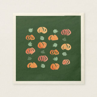 Pumpkins with Leaves Cocktail Paper Napkins