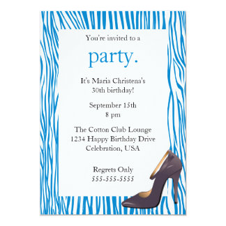 "Pumps and Zebra Ladies Night Out Invitation (Blue) 5"" X 7"" Invitation Card"