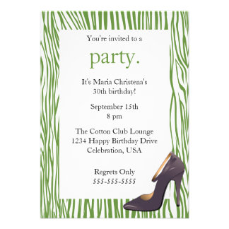 Pumps and Zebra Ladies Night Out Invitation (Gr)