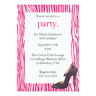 Pumps and Zebra Ladies Night Out Invitation (Pink)