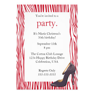 Pumps and Zebra Ladies Night Out Invitation (Red)