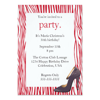 "Pumps and Zebra Ladies Night Out Invitation (Red) 5"" X 7"" Invitation Card"
