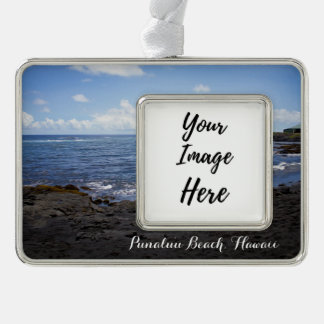 Punalu'u Black Sand Beach Hawaii Silver Plated Framed Ornament