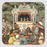 "Punch and Judy Puppet Show"" Square Sticker"