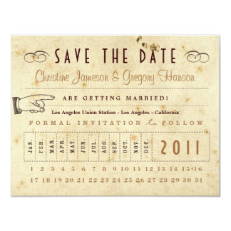 Punch Card Save the Date - Vintage Colors 11 Cm X 14 Cm Invitation Card
