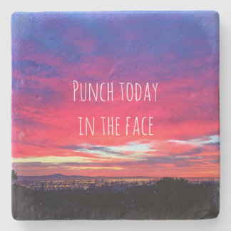 """Punch"" hot pink blue sunrise photo stone coaster"
