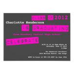 Punch label pink graduation class of invitation