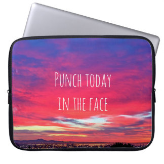 """Punch Today"" Quote Hot Pink & Blue Sunrise Photo Laptop Sleeve"