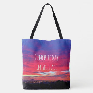 """""""Punch today"""" quote hot pink & blue sunrise photo Tote Bag"""