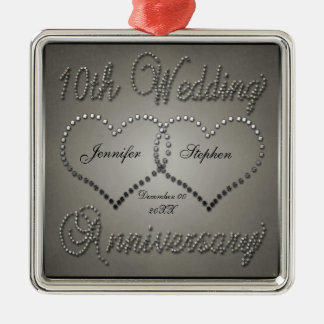 Punched Tin 10 Year Anniversary Square Ornament