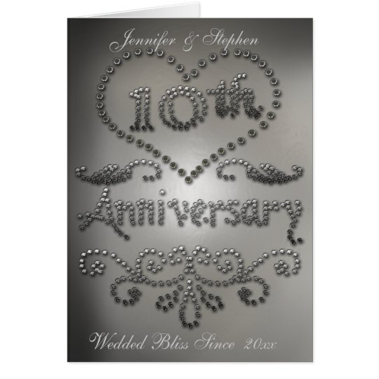 Punched Tin Look 10th Wedding Anniversary Card Zazzle Co Uk