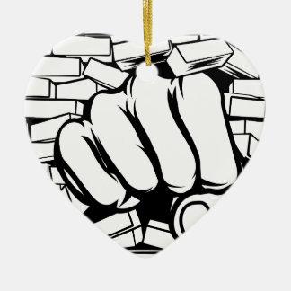 Punching Fist Through Brick Wall Ceramic Heart Decoration
