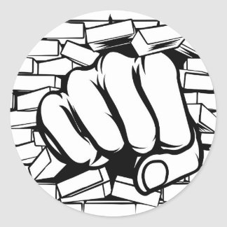 Punching Fist Through Brick Wall Classic Round Sticker