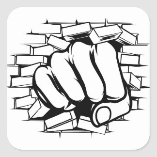 Punching Fist Through Brick Wall Square Sticker