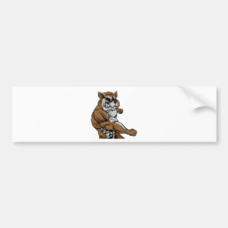 Punching raccoon mascot bumper sticker