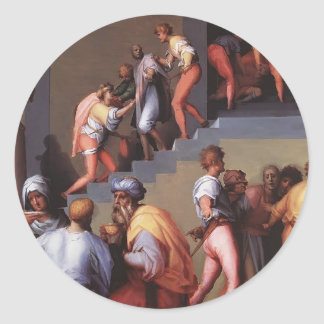 Punishment of the Baker by Jacopo Pontormo Round Stickers