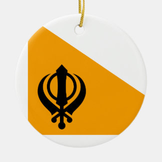 Punjab Sikh Holy Flag Sikhism Nishan Sahib Double-Sided Ceramic Round Christmas Ornament