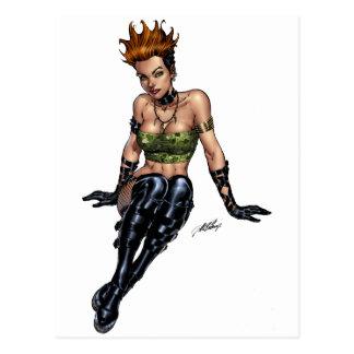 Punk Alternative Girl by Al Rio Postcard