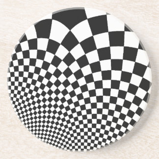 Punk black and white abstract checkerboard drink coaster