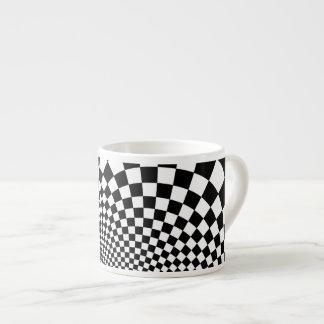 Punk black and white abstract checkerboard 6 oz ceramic espresso cup