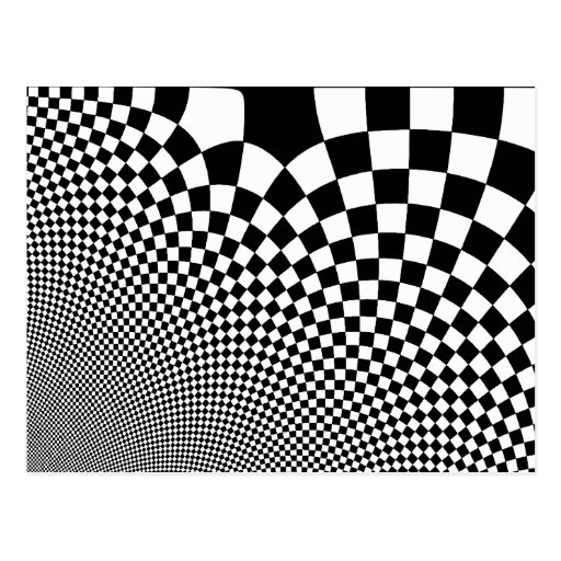 Punk black and white abstract checkerboard post card