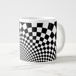 Punk black and white abstract checkerboard extra large mug