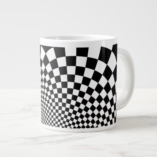 Punk black and white abstract checkerboard extra large mug