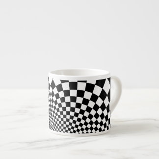 Punk black and white abstract checkerboard espresso mugs
