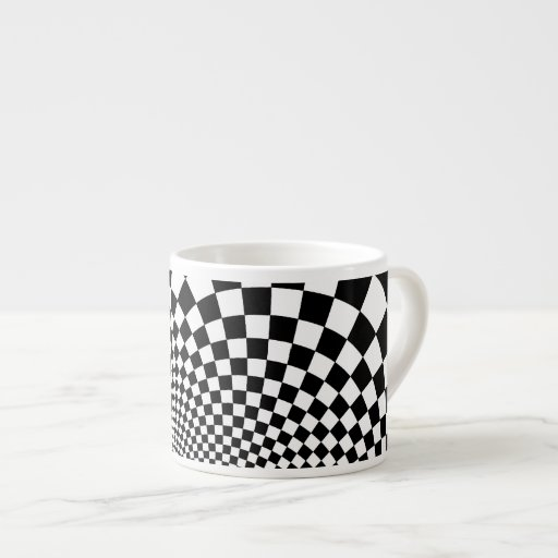 Punk black and white abstract checkerboard espresso mugs