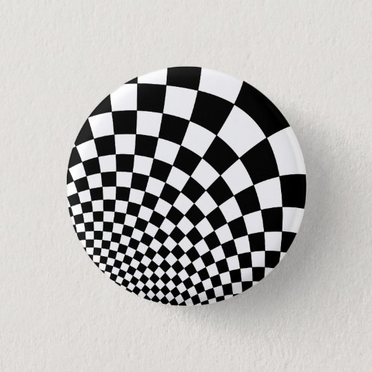 Punk black and white abstract chequerboard 3 cm round badge