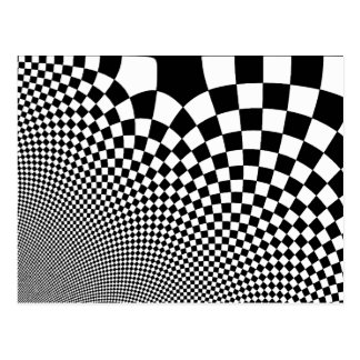 Punk black and white abstract chequerboard post card
