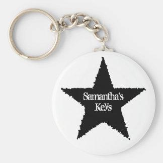 Punk black star basic round button key ring