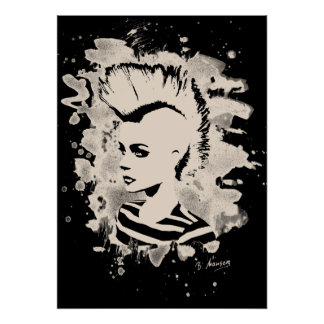 Punk Girl - bleached white Poster