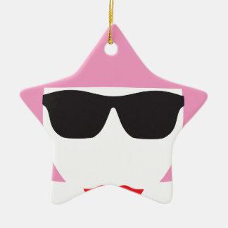 Punk Girl Pink Hair Glasses Christmas Ornament